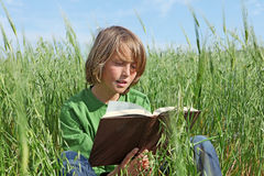 Child or kid reading book. Outdoors Royalty Free Stock Photography