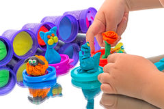 Child and Kids crafts made of modeling clay Royalty Free Stock Photos