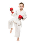 Child in kimono training karate Royalty Free Stock Photo
