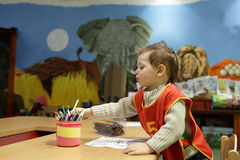 Child at kindergarten Stock Image