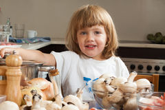 Child in kitchen royalty free stock photography
