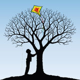 Child and  kite. Vector illustration of a child and kite Royalty Free Stock Images