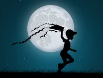 Child with kite in the moonlight. Illustration of child with kite in the moonlight Royalty Free Stock Photography