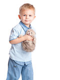 Child with kitten Stock Photo