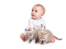Child with kitten Stock Photos