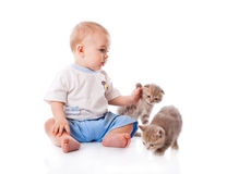 Child with kitten Royalty Free Stock Photos