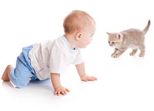 Child with kitten Royalty Free Stock Images