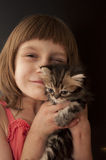 Child with a kitten Royalty Free Stock Photography