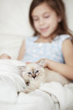 Child and kitten Royalty Free Stock Photo