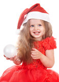 Child l in red dress with gift box. Stock Image