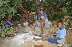 Child Labor. Children working in a stone block in a poor region of Brazil Stock Photo