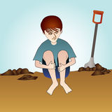 Child Labor. An illustration of a child labor, pictures a young boy resting pulling both of his knees, looking tired and exhausted, in a middle of a mining in a Stock Image