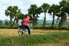 Child labor at Asia poor countryside. MEKONG DELTA, VIETNAM- JULY 25: Child labor at Asia countryside, unidentified girl ride bike, carry boy to rice field Royalty Free Stock Image