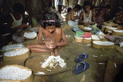 Child labor in cigarette factory in Bangladesh Royalty Free Stock Photography