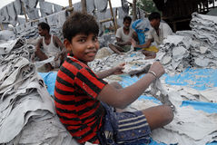 CHILD LABOUR IN INDIA. 10/23/2010,Char numbar,parkcircus,kolkata,India-SAMIR working with his father and other senior labour at the leather tannery in Kolkata Stock Photo