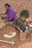 Child labour, stone breakers in Bangladesh Royalty Free Stock Image