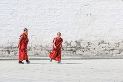 Child Lama. At Labuleng temple, as one of largest lama temple, located in the south of Gansu province, it has long history and rich in culture Stock Photo