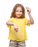 Child with lamp Royalty Free Stock Photography