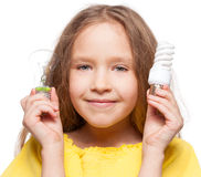 Child with lamp Stock Images
