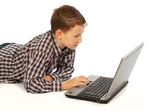 Child with laptop Stock Photo
