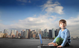 Child with laptop Stock Photos