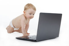 Child with laptop. Royalty Free Stock Photos