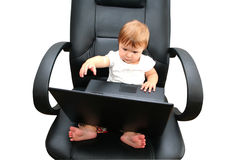 Child  with a laptop Stock Photography