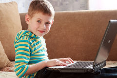 The child with laptop Royalty Free Stock Image