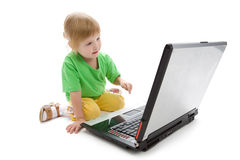 Child with laptop royalty free stock image