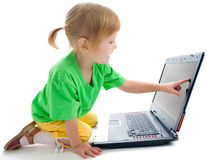 Child with laptop Royalty Free Stock Photos