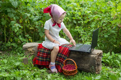Child with laptop Stock Photography