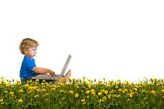 Child with laptop on a dandelion meadow. Cute child with laptop oh his lap sitting on a sunny dandelion meadow isolated on white full length in profile royalty free stock image