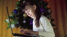 Child with laptop in the New Year. stock footage