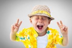 Child Laughs Hawaiian Shirt Straw Hat Holidays Royalty Free Stock Photos