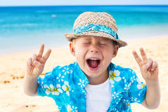 Child Laughs Holidays Clothes Isolated Natural Sea Stock Image
