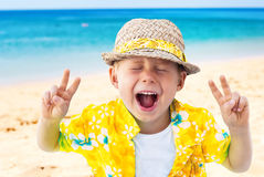 Child Laughs Holidays Clothes  Natural Sea Royalty Free Stock Photo