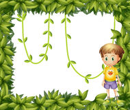 A child on a leafy frame Stock Photography