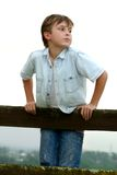 Child leaning on a fence stock image