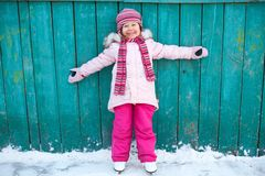 Child leaning skating Royalty Free Stock Photo