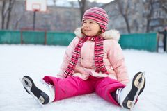 Child leaning skating Stock Image