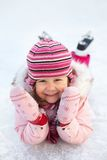 Child leaning skating Royalty Free Stock Images