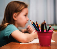 Child learn to draw Royalty Free Stock Images