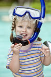 Child learn to swim . Stock Photo