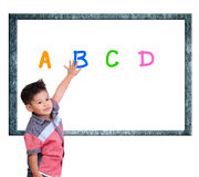 Child are learning Index on a white background. Royalty Free Stock Photo