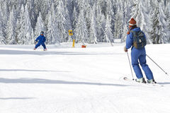 Child learning to ski Royalty Free Stock Photo