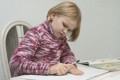 Child learns Stock Photo