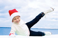 Child learns ice skate Royalty Free Stock Image