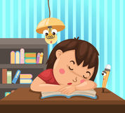 Child learns at night. Illustration of isolated child learns at night Royalty Free Stock Images