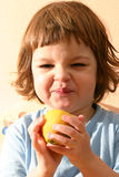 Child and lemons stock photo
