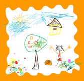 Child like drawing Royalty Free Stock Photos